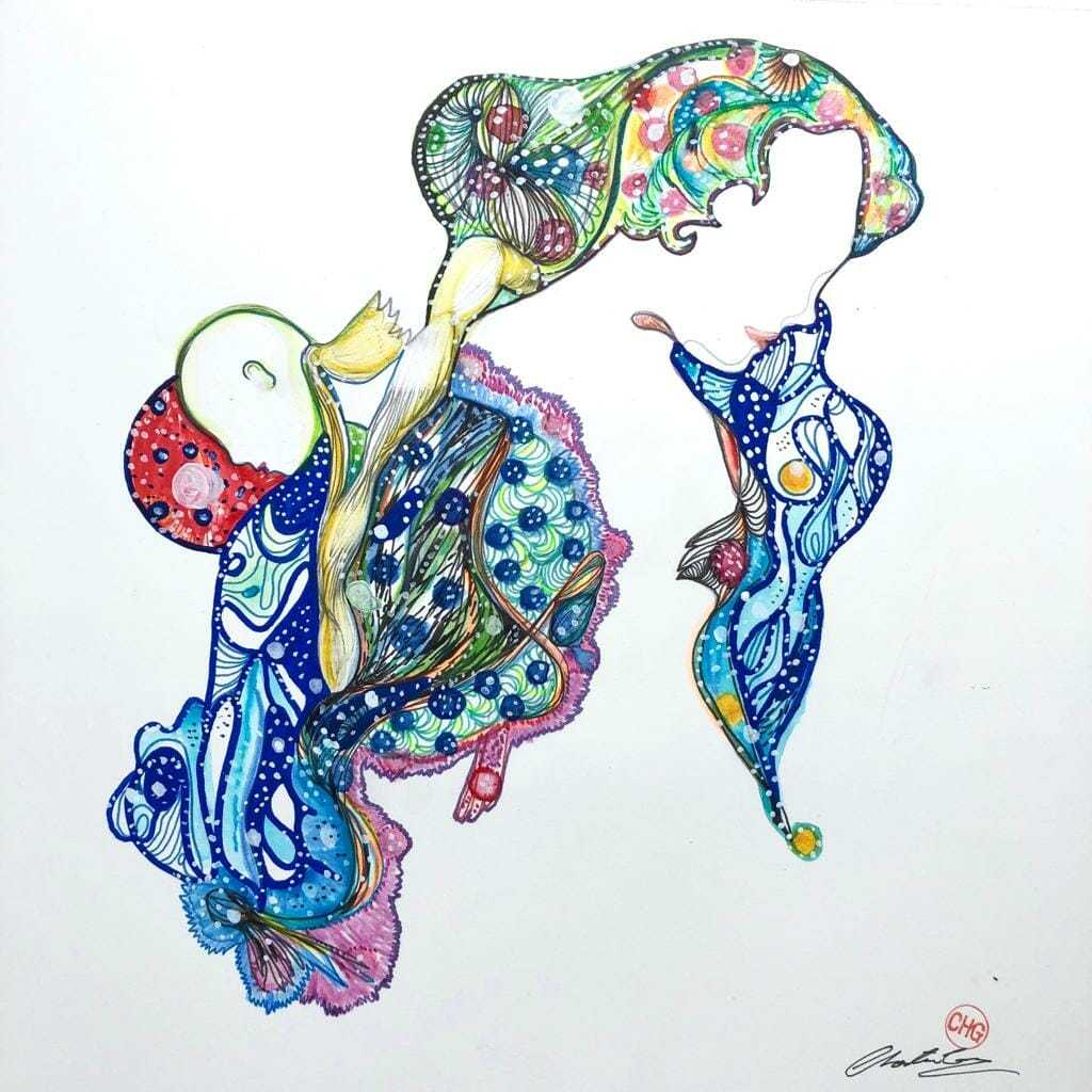 Chester Gibs' drawing inspired by Etruscan Water, Francesca Bianchi Perfumes