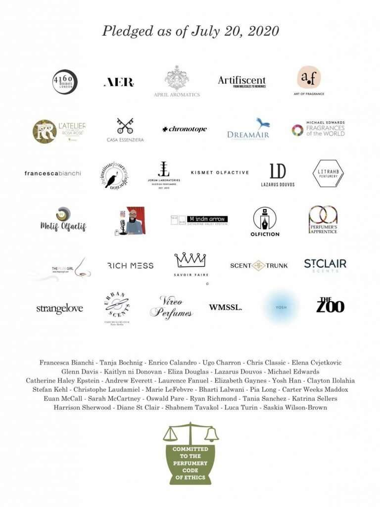 Brands that pledged for the perfumery code of ethics